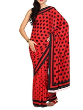 Red And Black Polka Crepe Saree - Aaboli