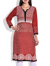 Red & White Rayon Printed Kurta - By