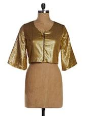 Golden Sequined  Front Zipper Crop Top - VEA KUPIA