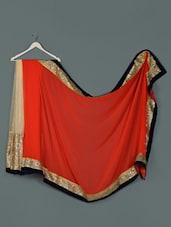 Red Beige Net Sequined Designer Party Wear Saree - Aakriti