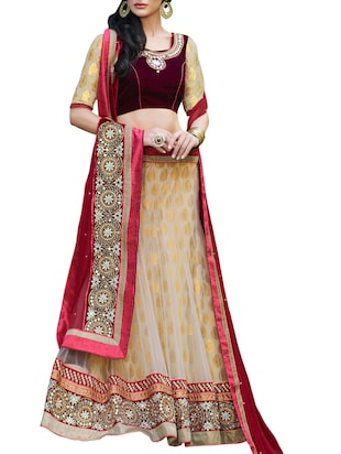 Beige and gold embellished lehenga set