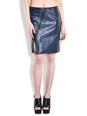 Navy Blue Faux Leather Zippered Skirt - By