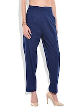 Blue cotton solid trouser -  online shopping for Trousers
