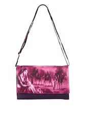 Digital Print Purple Sling Bag - Bags Craze