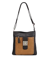 Brown Leatherette Sling Bag - Bags Craze