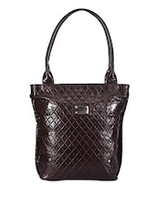 Textured Brown Shoulder Bag - Bags Craze