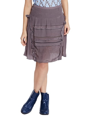 grey ruffled and laced viscose cotton georgette skirt