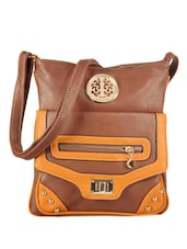 Casual Brown Leather Sling Bag - Bags Craze