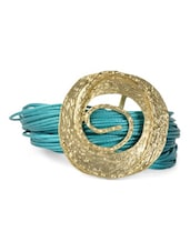Party Blue Braids Leather Bracelet With Metal Broche - Fayon