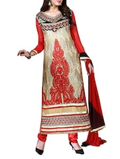 Beige & Red Embroidered Semi- Stitched  Dress Material - By