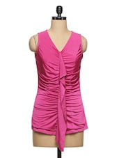 Pink Polyester Ruffle Top - Ozel Studio