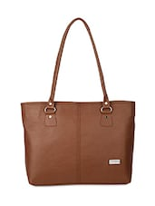 Solid Brown Leatherette Tote Bag - By