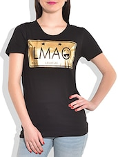 Black Printed Knitted Cotton T-shirt - By - 9773059