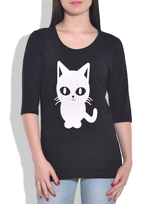 black printed knitted cotton t-shirt