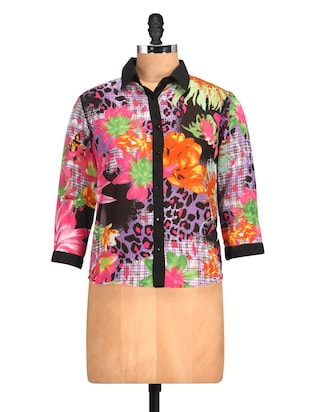 Floral & Animal Digital Print Shirt