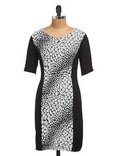 Tiger Print Color Block Monochrome Dress - Golden Couture