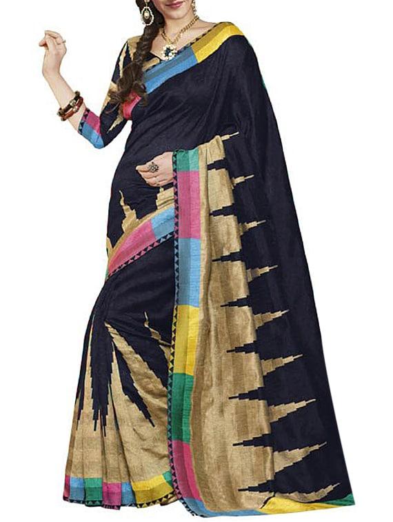 Black Bhagalpuri Art Silk Saree - By