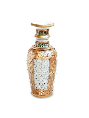 Marble Flower Vase Pot with Cut Work Design and Intricate Painting in Golden Colour