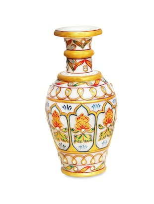 Marble Flower Vase Pot With Emboss Work