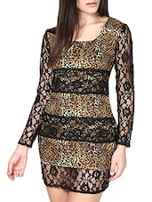 Black And Brown Animal Print Lace Dress - By
