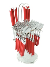 Expression Red Look Cutlery Set - 24 Pcs With Stand - Elegante'