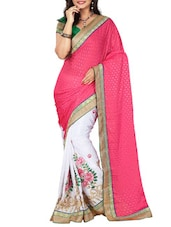 Pink Jacquard Georgette Embroidered Saree - By