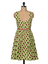 Lime Green Floral Print Dress - Bhama Couture