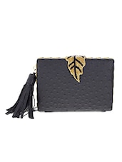 Black Leaf Inspired Faux Leather Clutch - By