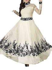 White And Black Georgette Semi Stitched Dress Material - By