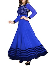 Blue And Black Georgette Semi Stitched Dress Material - By