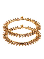 Pair Of Yellow Gold Plated Anklets With Embellished Drop Motifs - Voylla