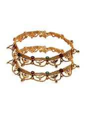 Pair Of Yellow Gold Plated Anklets With Colored Stones - Voylla