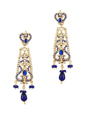 Gold Plated Dangler Earrings With Blue Color Stones And Shiny CZ - Voylla