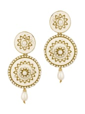 Circular Floral Gold Plated Danglers With Pearl Beads, White Enamel Work - Voylla