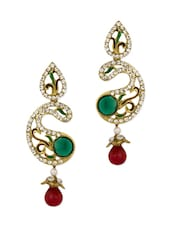 Gold Plated Paisley Style Meenakari Earrings Studded With Cz Stones - Voylla