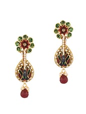 Shiny CZ, Maroon Color Stone And Pearl Beads Adorned Peacock Dangler Earrings Pair - Voylla