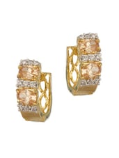 Gold Plated CZ And Brown Color Stones Encrusted Pair Of Earrings - Voylla