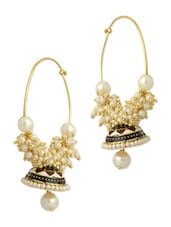 Gold Plated Pair Of Dome Shape Jhumki Earrings Embedded With Pearls And Enamel Work - Voylla