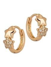 Starry Design Hoop Earring Pair Adorned With CZ Stones - Voylla