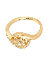 Gold Tone Floral Ring Adorned With Shiny CZ Stones - Voylla
