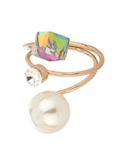 Shiny Gold Tone Statement Ring With CZ, Crystal And Pearl - Voylla