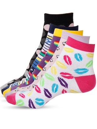 Set of 5 multicolored cotton pair of socks