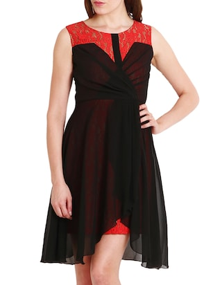 Black, red Georgette, Lace High low dress