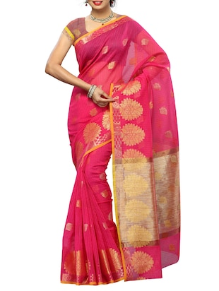 Pink South Indian CottonSaree with blouse Piece Saree