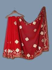 Faux Georgette Saree With  Embroidery Work - Ethnictrend