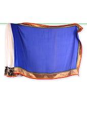 Blue And White Jacquard Saree - Vastrang
