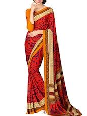 Red Crepe Silk Printed Saree - By