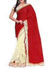 Red Georgette & Net Saree - By