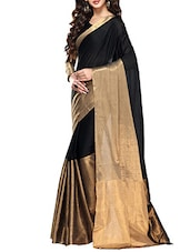 Black, Gold Cotton Saree - By