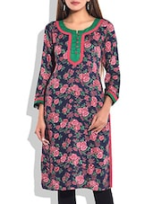 Navy Blue & Red Printed Cotton Kurta - By